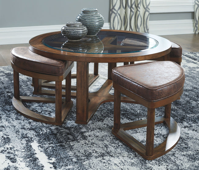 Hannery Coffee Table with Stools (Set of 5)