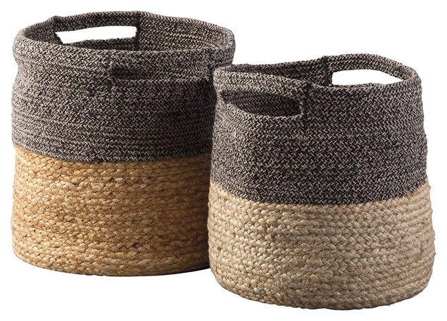 Parrish Natural/Black Basket (Set of 2) | Calgary's Furniture Store