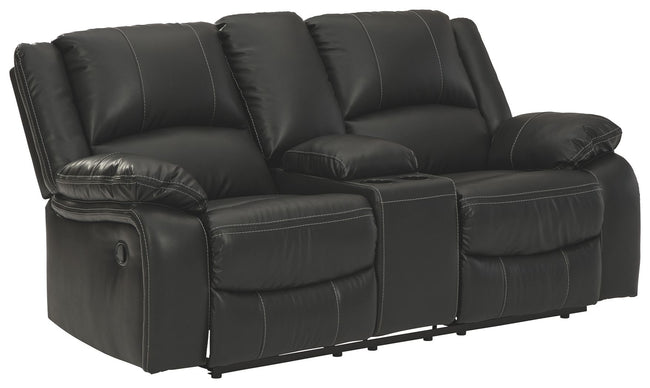 Calderwell Reclining Loveseat with Console | Calgary's Furniture Store