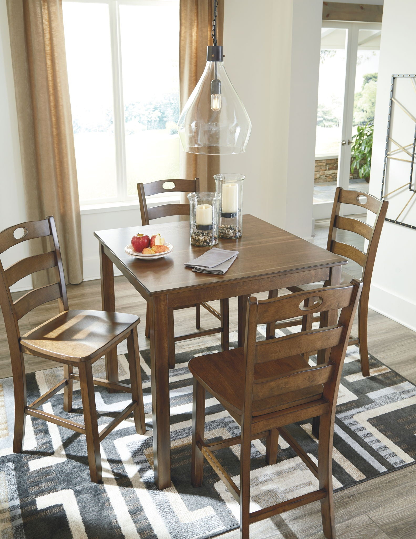 Hazelteen Counter Height Dining Room Table and Bar Stools (Set of 5) | Calgary's Furniture Store