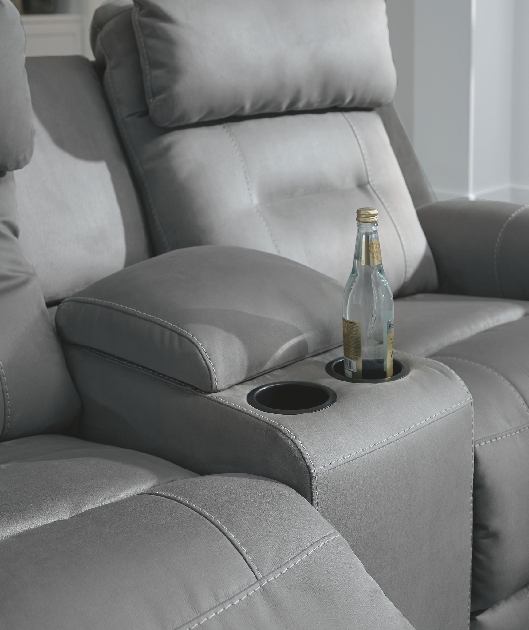 Trampton Power Reclining Loveseat with Console | Calgary's Furniture Store