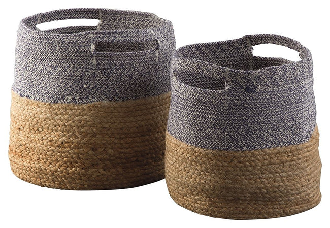 Parrish Natural/Blue Basket (Set of 2) | Calgary's Furniture Store