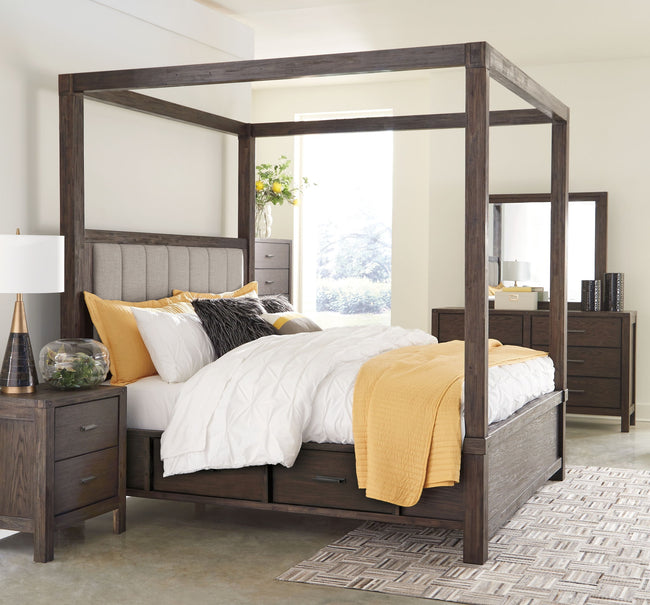 Dellbeck Storage Canopy Bed | Calgary's Furniture Store