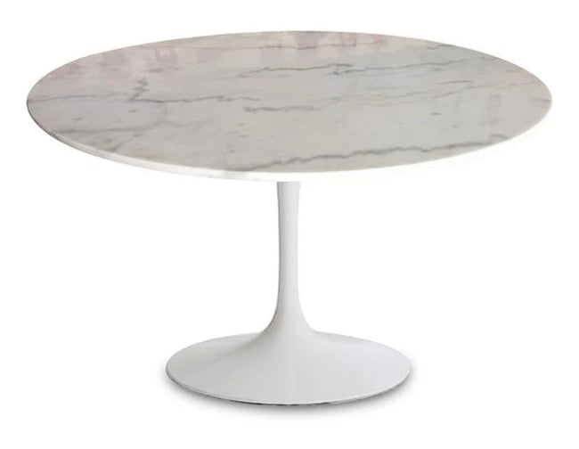 Canmore Round Dining Table - White Marble/Sleek Matte Base