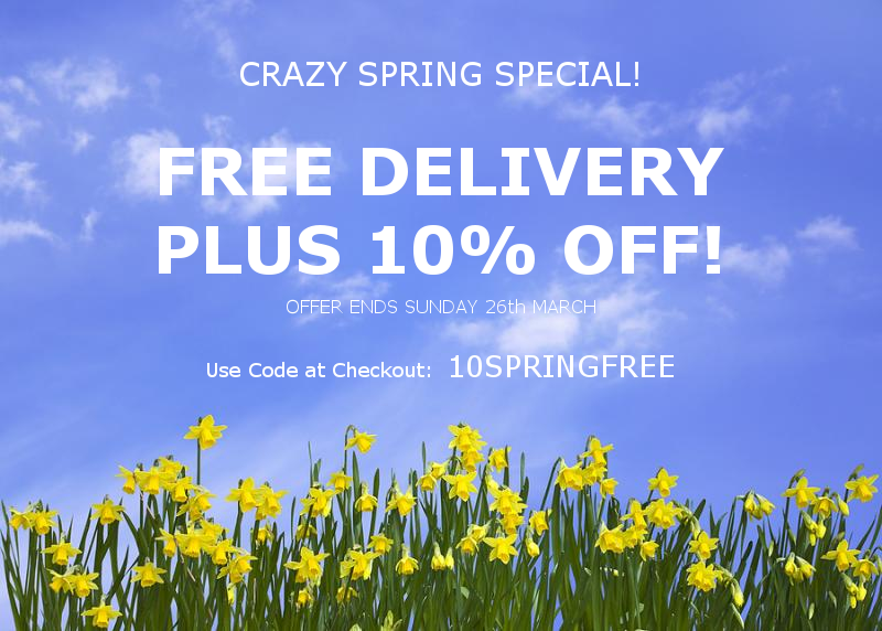 Crazy Spring Offer - Discount Code: 10SPRINGFREE