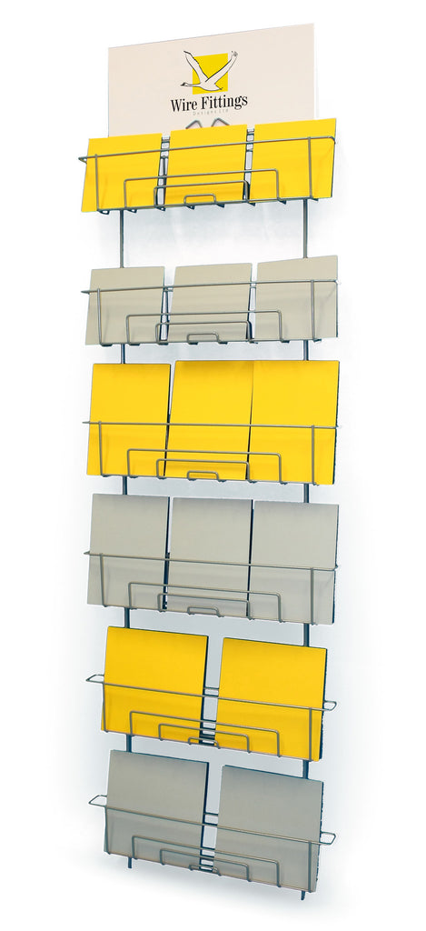 Wall rack adjustable greeting card display 6 pocket wire fittings greeting card wall rack or slatwall rack for mixed sized cards m4hsunfo
