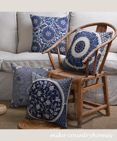 "Blue & White Chinoiserie Floral Art Motif | Linen Throw Pillow Cover | Decorative Home Decor | 45x45cm 18""x18"""