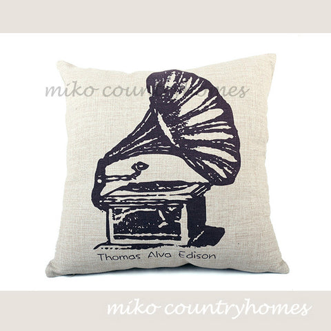 Vintage Gramophone Illustration | Decorative Pillow Cover