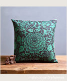Chinoiserie Green Floral Art Motif | Throw Pillow Cover