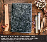R.atelier Hobonichi Techo Cousin A5 Leather Planner Cover | Floral Embossed Black Onyx | Premium Style