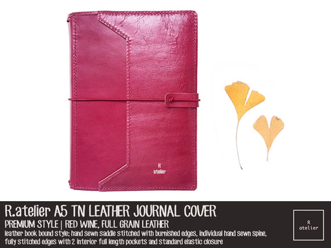 R.atelier A5 TN Leather Journal Cover | Premium Style | Red Wine