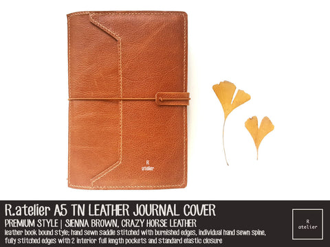 R.atelier A5 TN Leather Journal Cover | Premium Style | Sienna Brown