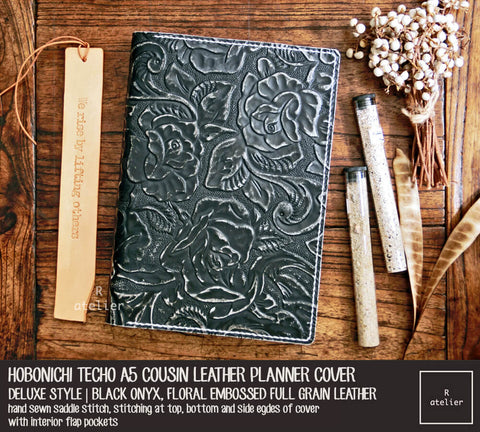 R.atelier Hobonichi Techo Cousin A5 Leather Planner Cover | Floral Embossed Black Onyx | Deluxe Style