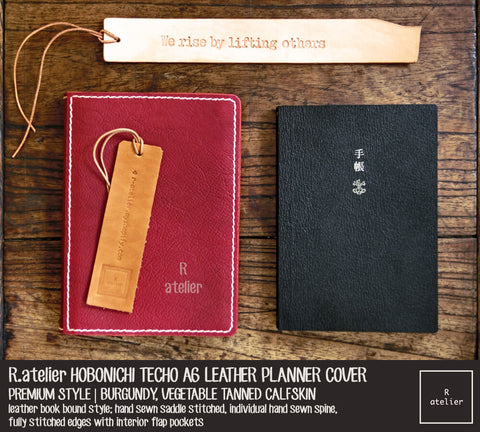 R.atelier Hobonichi Techo A6 Planner Leather Cover | Premium Style | Burgundy