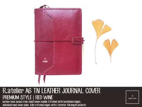 R.atelier A6 TN Leather Journal Cover | Red Wine