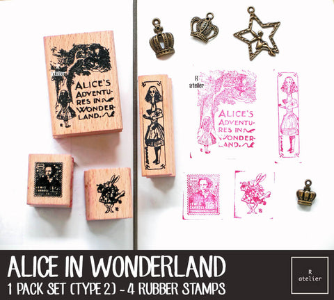 Alice in Wonderland Rubber Stamps Box Set | Type 2