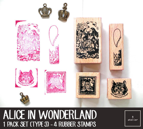Alice in Wonderland Rubber Stamps Box Set | Type 3