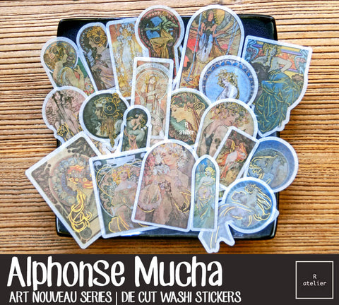 Alphonse Mucha | Die Cut Washi Stickers
