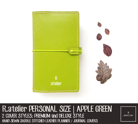 R.atelier Personal Size Traveler's Notebook Leather Cover | Apple Green