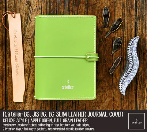 R.atelier B6 / B6 Slim / JIS B6 Leather Journal Cover | Apple Green
