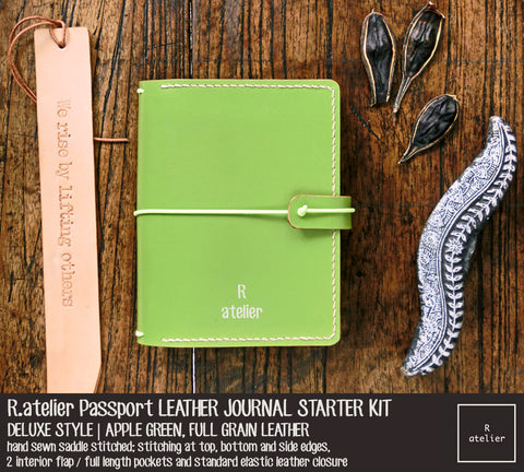R.atelier Passport Size Traveler's Notebook Leather Cover | Apple Green | Starter Kit