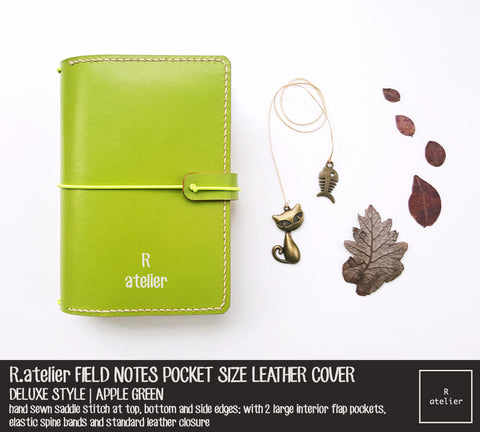 Field Notes Pocket Size Leather Journal Cover | Apple Green | Deluxe Style