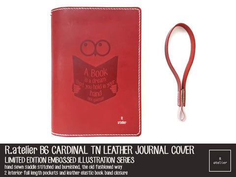 R.atelier Exclusive Embossed Illustration Series | B6 Cardinal TN Leather Cover