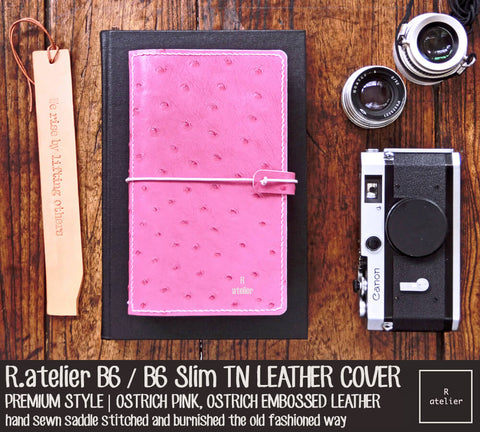 R.atelier B6 / B6 Slim TN Leather Cover | Ostrich Pink