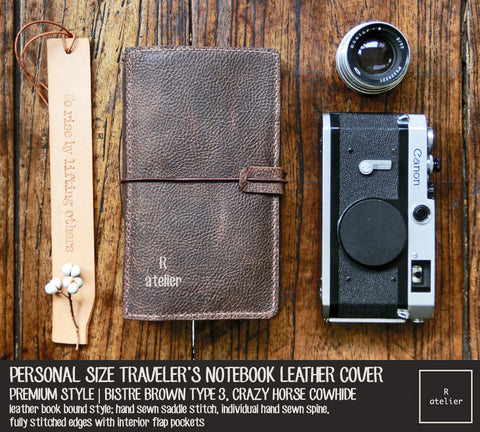 R.atelier Traveler's Notebook Leather Cover | Bistre Brown Type 3 | Personal Size