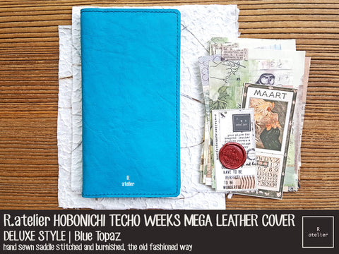 R.atelier Hobonichi Techo Weeks Mega Leather Cover | Blue Topaz