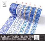 Blue & White China & Tiles Pattern Washi Tapes | Value Pack
