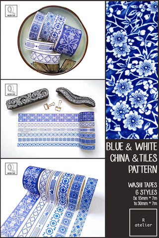 Blue & White Pottery & Tile Patterns Washi Tapes | 15mm x 7m, 30mm 7m