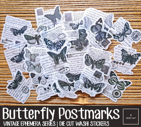 Butterfly Postmarks | Die Cut Washi Stickers