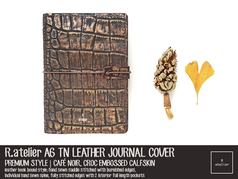 R.atelier A6 TN Leather Journal Cover | Café Noir