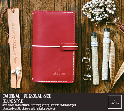 R.atelier Traveler's Notebook Leather Cover | Cardinal | Personal Size