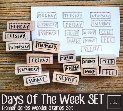 Days Of The Week Set Wooden Stamps