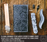 R.atelier Hobonichi Techo Weeks Leather Planner Cover | Floral Embossed Black Onyx