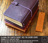 R.atelier Field Notes Pocket Size Leather Journal Cover | Eggplant Purple