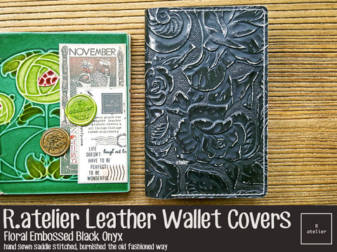 R.atelier Leather Wallet Cover | Floral Embossed Black Onyx