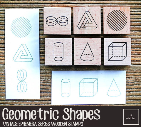 Geometric Shapes Wooden Stamp Set