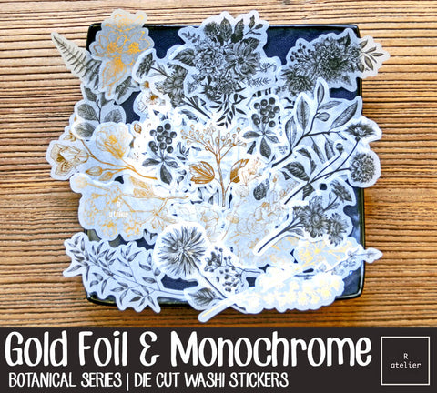 Gold Foil & Monochrome Plants | Die Cut Washi Stickers