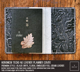 R.atelier Hobonichi Techo A6 Planner Leather Cover | Premium Style | Floral Embossed Black Onyx