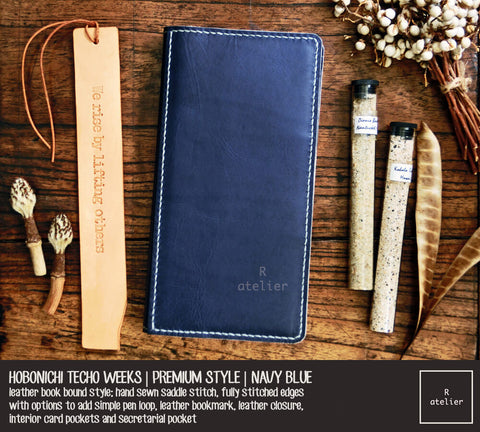 R.atelier Hobonichi Techo Weeks Leather Planner Cover | Navy Blue