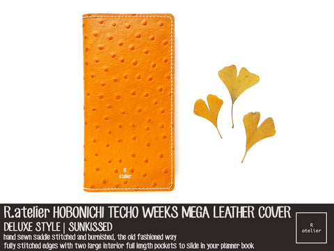 RTS | R.atelier Hobonichi Techo Weeks Mega Leather Cover | Sunkissed
