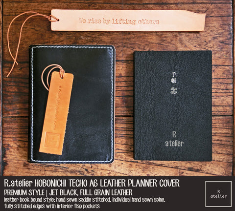 R.atelier Hobonichi Techo A6 Planner Leather Cover | Premium Style | Jet Black