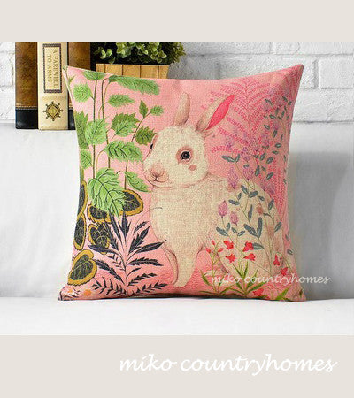 Nature Inspired | Easter Bunny Floral Print | Throw Pillow Cover