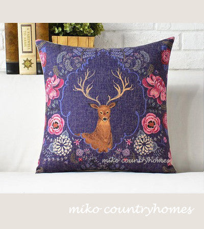 Nature Inspired | Deer Floral Print | Throw Pillow Cover