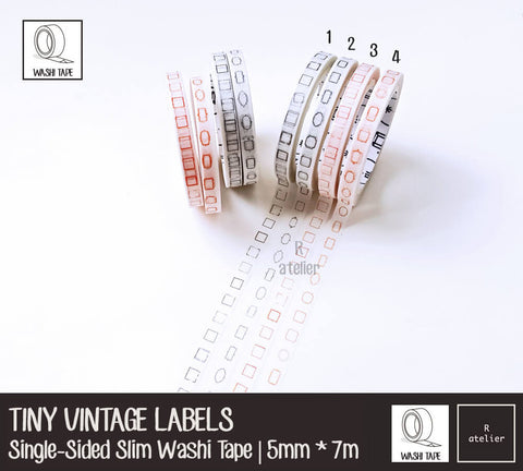 Vintage Labels | Ultra Slim Washi Tapes | 5mm x 7m | Value Pack