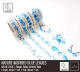 Nature Inspired Blue Leaves Washi Tapes | Value Pack | 15mm*3m + 30mm*3m