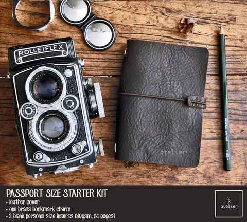 R.atelier Traveler's Notebook Leather Cover | Bistre Brown | Passport Size Starter Kit